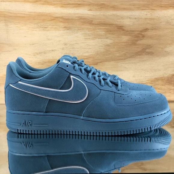 low priced a7c0e df61d Nike Air Force 1 07 LV8 Suede Aqua Blue Shoes